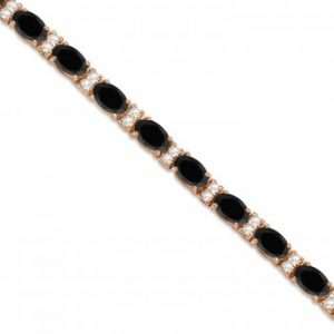 Black & White Diamond Oval Cut Tennis Bracelet 14k Rose Gold (9.25ctw)