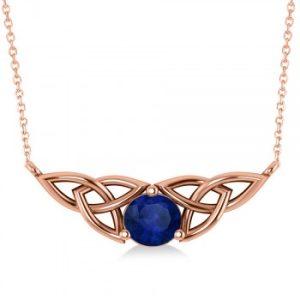 Celtic Round Blue Sapphire Pendant Necklace 14k Rose Gold (1.30ct)