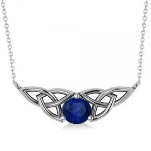 Celtic Round Blue Sapphire Pendant Necklace 14k White Gold (1.30ct)