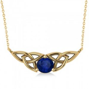 Celtic Round Blue Sapphire Pendant Necklace 14k Yellow Gold (1.30ct)