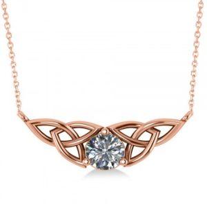 Celtic Round Diamond Pendant 14k Rose Gold (1.00ct)