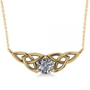 Celtic Round Diamond Pendant 14k Yellow Gold (1.00ct)