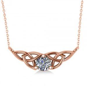 Celtic Round Diamond Pendant Necklace 14k Rose Gold (0.50ct)