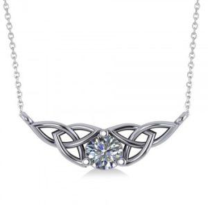 Celtic Round Diamond Pendant Necklace 14k White Gold (0.50ct)