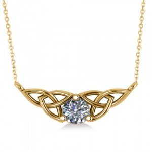 Celtic Round Diamond Pendant Necklace 14k Yellow Gold (0.50ct)