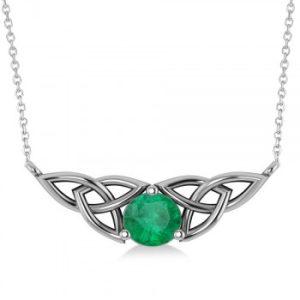 Celtic Round Emerald Pendant Necklace 14k White Gold (1.16ct)