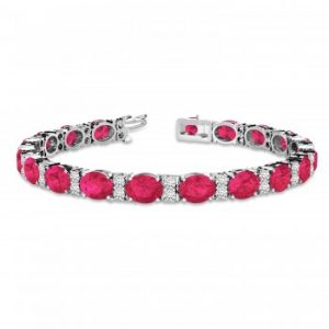 Diamond & Oval Cut Ruby Tennis Bracelet 14k White Gold (13.62ctw)