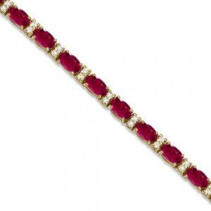 Diamond & Oval Cut Ruby Tennis Bracelet 14k Yellow Gold (9.25ctw)