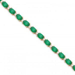 Emerald & Diamond Tennis Bracelet 14k Rose Gold (12.00ct)