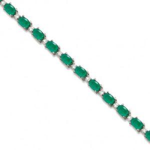 Emerald & Diamond Tennis Bracelet 14k White Gold (12.00ct)