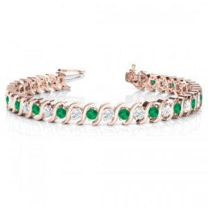 Emerald & Diamond Tennis S Link Bracelet 14k Rose Gold (4.00ct)