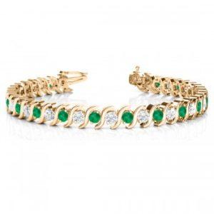 Emerald & Diamond Tennis S Link Bracelet 14k Yellow Gold (4.00ct)