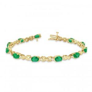 Emerald & Diamond XOXO Link Bracelet in 14k Yellow Gold (6.65ct)