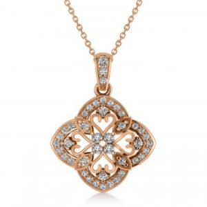 Four Leaf Clover Diamond Pendant Necklace 14k Rose Gold (0.61ct)