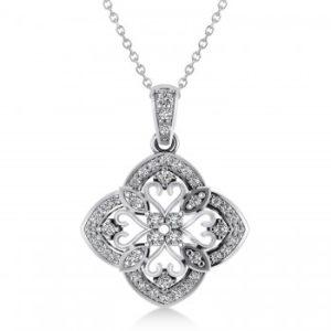 Four Leaf Clover Diamond Pendant Necklace 14k White Gold (0.61ct)