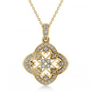 Four Leaf Clover Diamond Pendant Necklace 14k Yellow Gold (0.61ct)