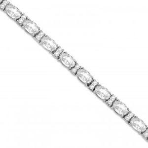 Lab Grown Diamond Oval Cut Tennis Bracelet 14k White Gold (9.25ctw)