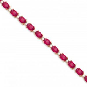 Ruby & Diamond Tennis Bracelet 14k Rose Gold (12.00ct)