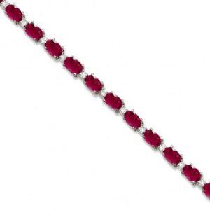 Ruby & Diamond Tennis Bracelet 14k White Gold (12.00ct)