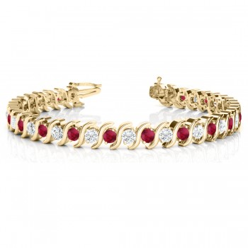 Ruby & Diamond Tennis S Link Bracelet 14k Yellow Gold (4.00ct)