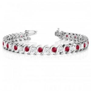 Ruby & Diamond Tennis S Link Bracelet 18k White Gold (6.00ct)
