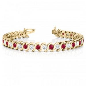 Ruby & Diamond Tennis S Link Bracelet 18k Yellow Gold (6.00ct)