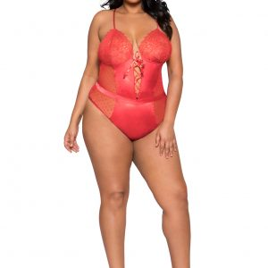 Sexy Red Satin & Lace Plus Size Teddy