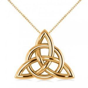 Triangular Irish Trinity Celtic Knot Pendant Necklace 14k Yellow Gold